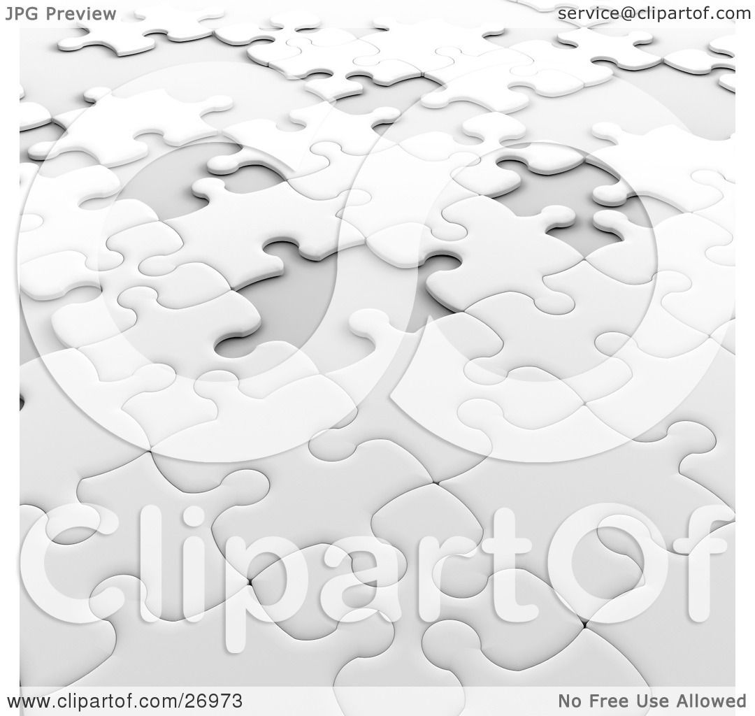 Clipart Illustration of an Incomplete White Jigsaw Puzzle With Scattered  Spaces Of Missing Pieces by KJ Pargeter