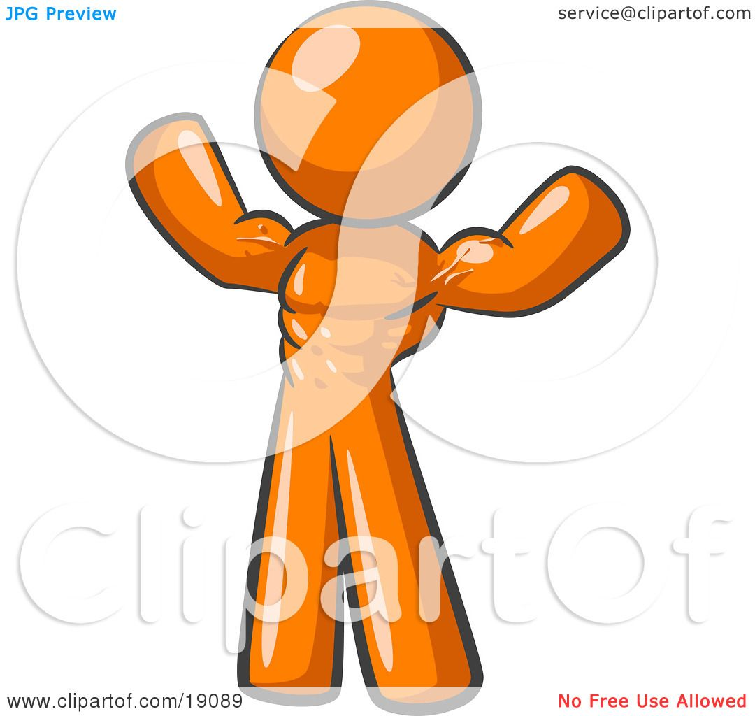 Clipart Illustration of an Orange Bodybuilder Man Flexing ...