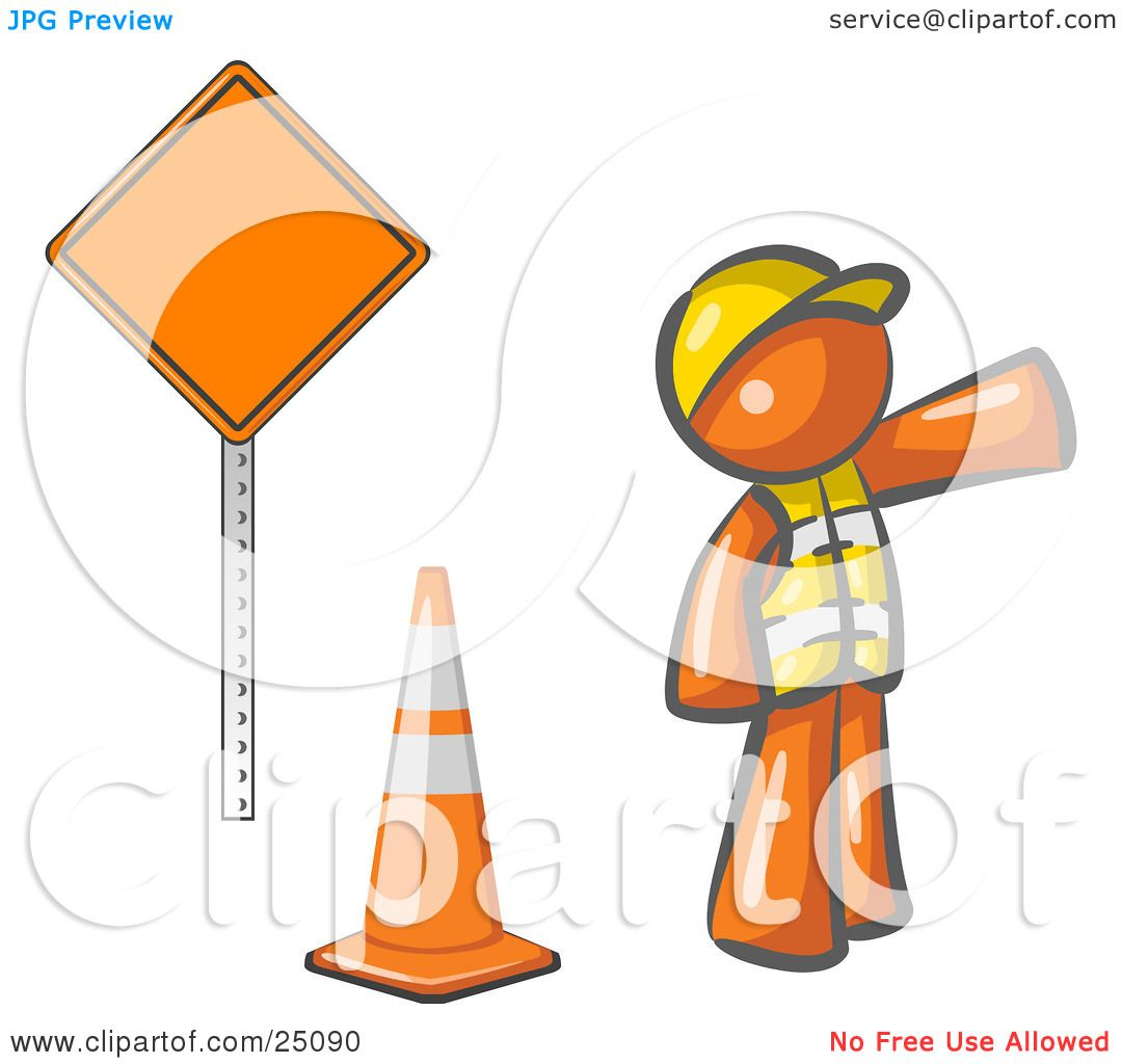 Clipart Illustration Of An Orange Man Construction Worker Wearing A Vest And Hardhat Pointing While Standing By Cone Sign At Road Work Site Leo