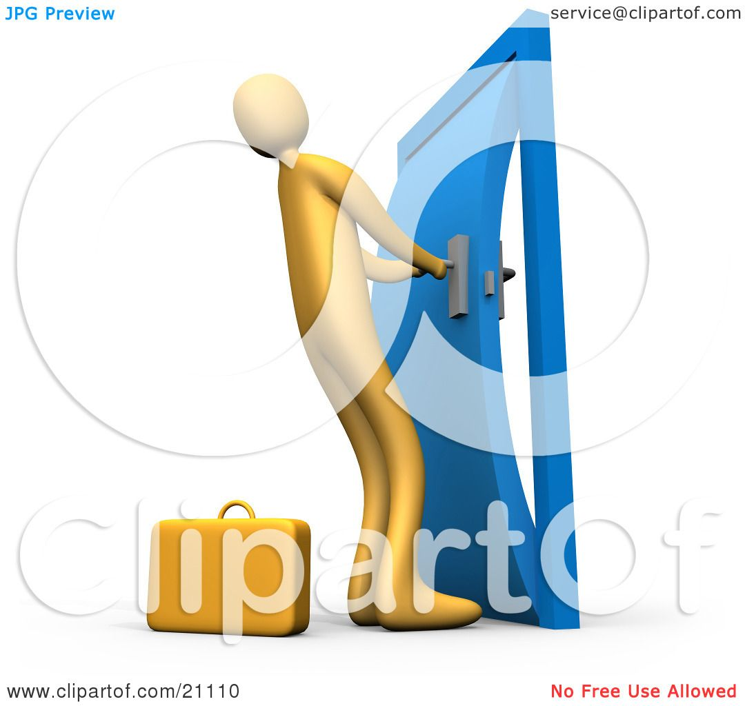 Clipart Illustration of an Orange Person By A Briefcase Struggling To Yank Open A Door That Is Stuck In The Frame by 3poD  sc 1 st  Clipart Of & Clipart Illustration of an Orange Person By A Briefcase Struggling ...