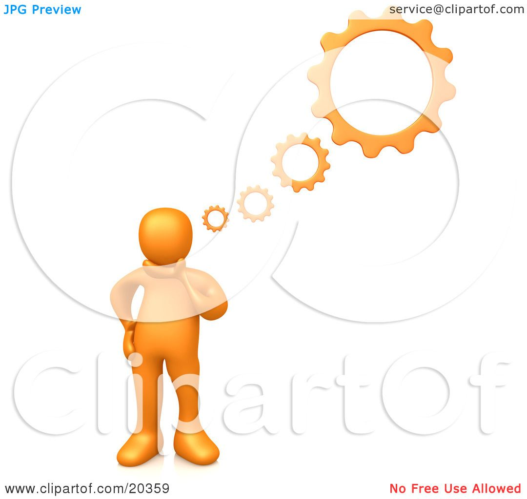 Clipart Illustration Of An Orange Person Inventing A