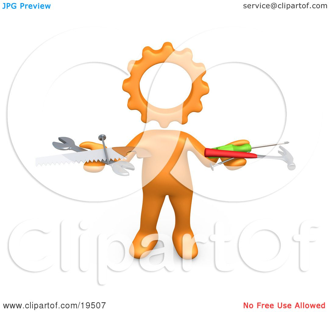 Clipart Illustration of an Orange Person With A Cog Head, Holding ...