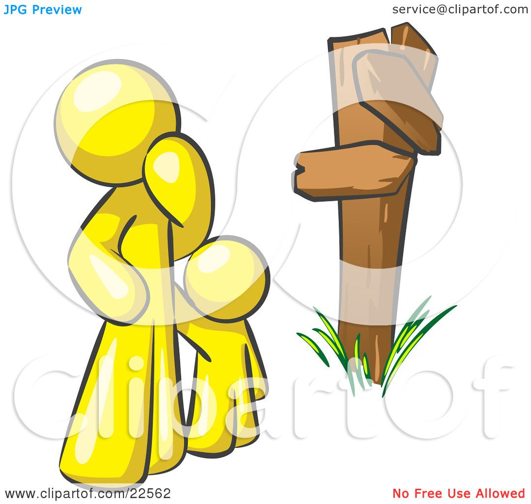 Clipart Illustration Of An Uncertain Yellow Man And Child Standing