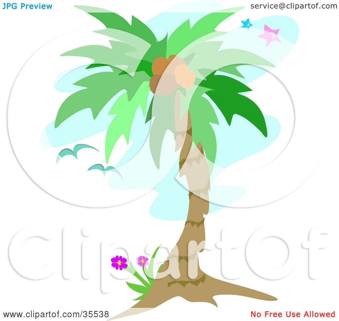 Clipart Illustration of Birds Flying Near A Coconut Palm Tree Over A ...