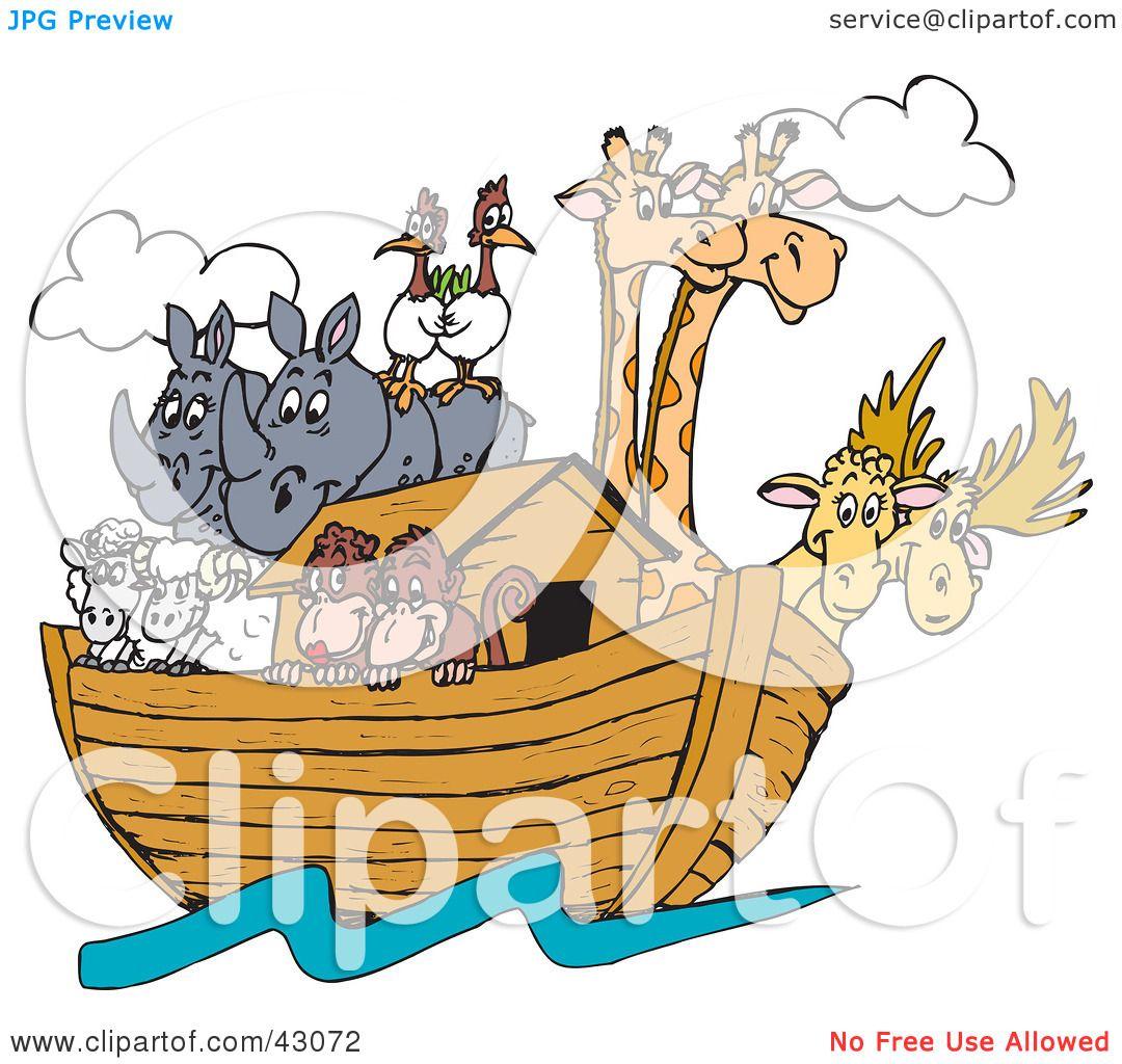 Clipart Illustration Of Birds, Rhinos, Elk, Sheep, Monkeys