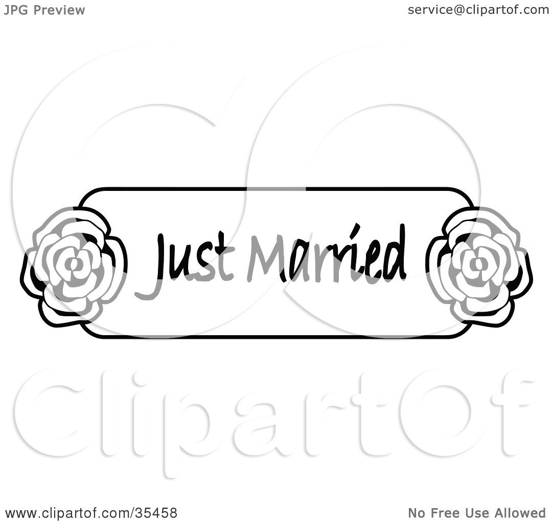 clipart illustration  black  white  married sign