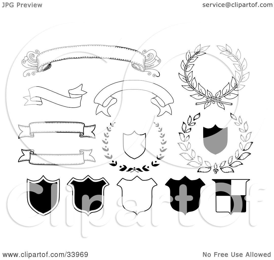 Clipart Illustration of Blank Banners, Shields And Laurels In ...
