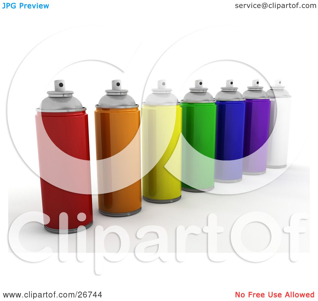 Orange Green Purple Room: Clipart Illustration Of Cans Of Red, Orange, Yellow, Green