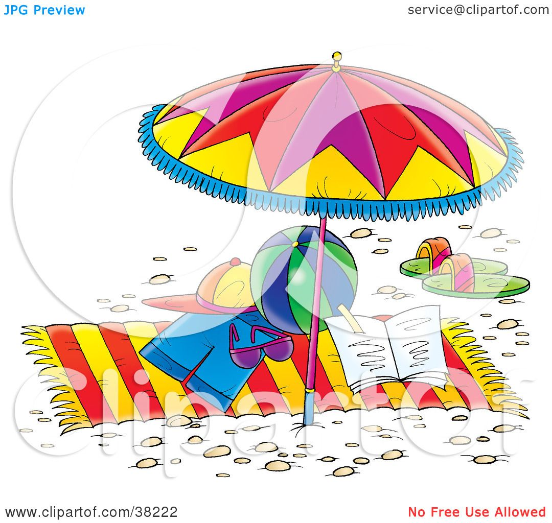 Clip Art Beach Blanket: Clipart Illustration Of Clothes, Toys And Sandals On A
