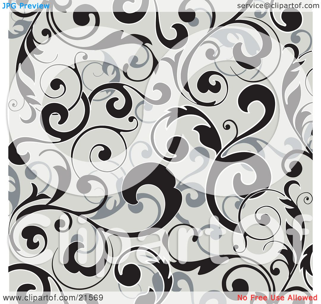 Clipart Illustration Of Elegant Black And Gray Leafy Vines