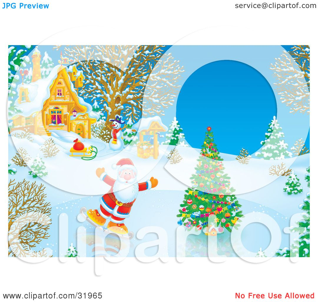 Clipart Illustration Of Father Christmas Ice Skating