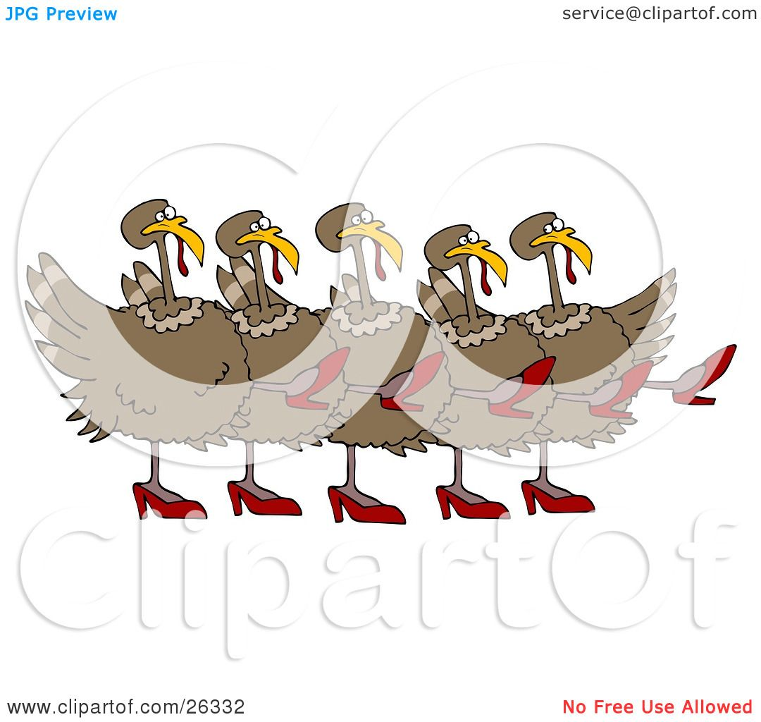 Clipart Illustration of Five Brown Turkey Birds In High Heels ...