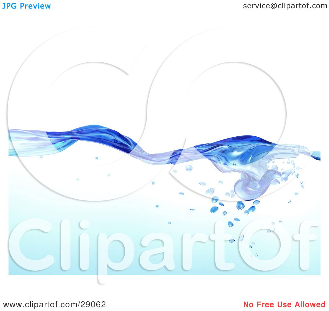 Clipart Illustration of Flowing Clear Blue Purified Blue Water ...