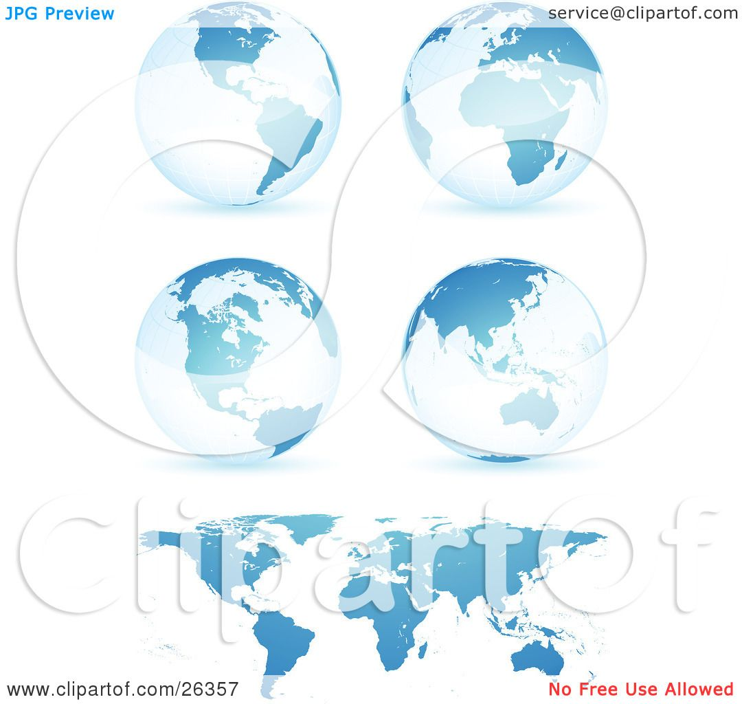 Clipart illustration of four blue globes showing different clipart illustration of four blue globes showing different continents with a flat map over white by beboy gumiabroncs Image collections