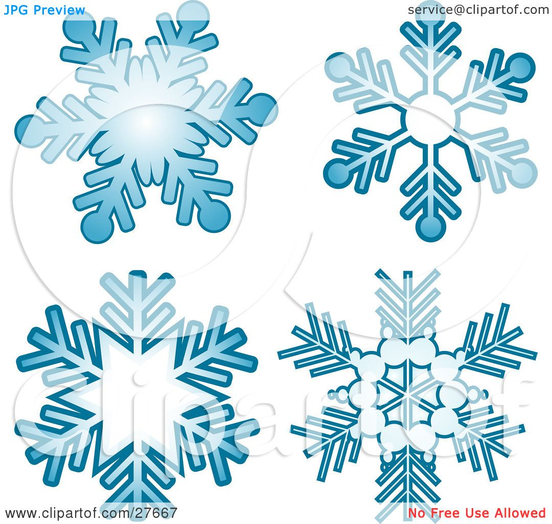 Blue Snowflake Border Clipart Clipart illustration of four