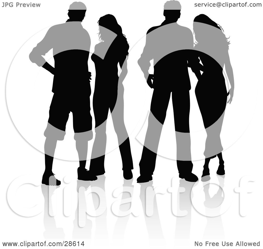 Clipart Illustration Of Four Men And Women Standing