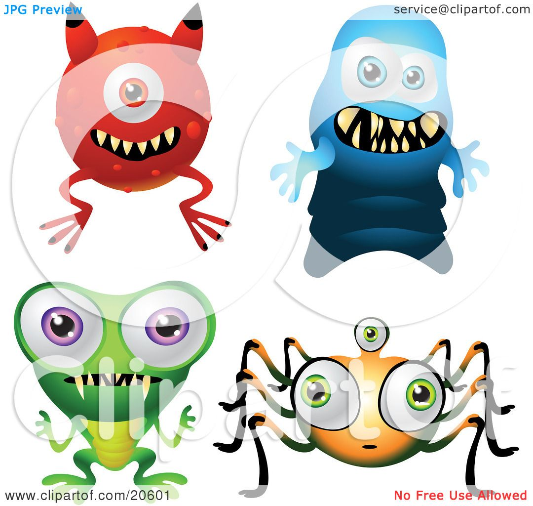 Clipart Illustration of Four Scary