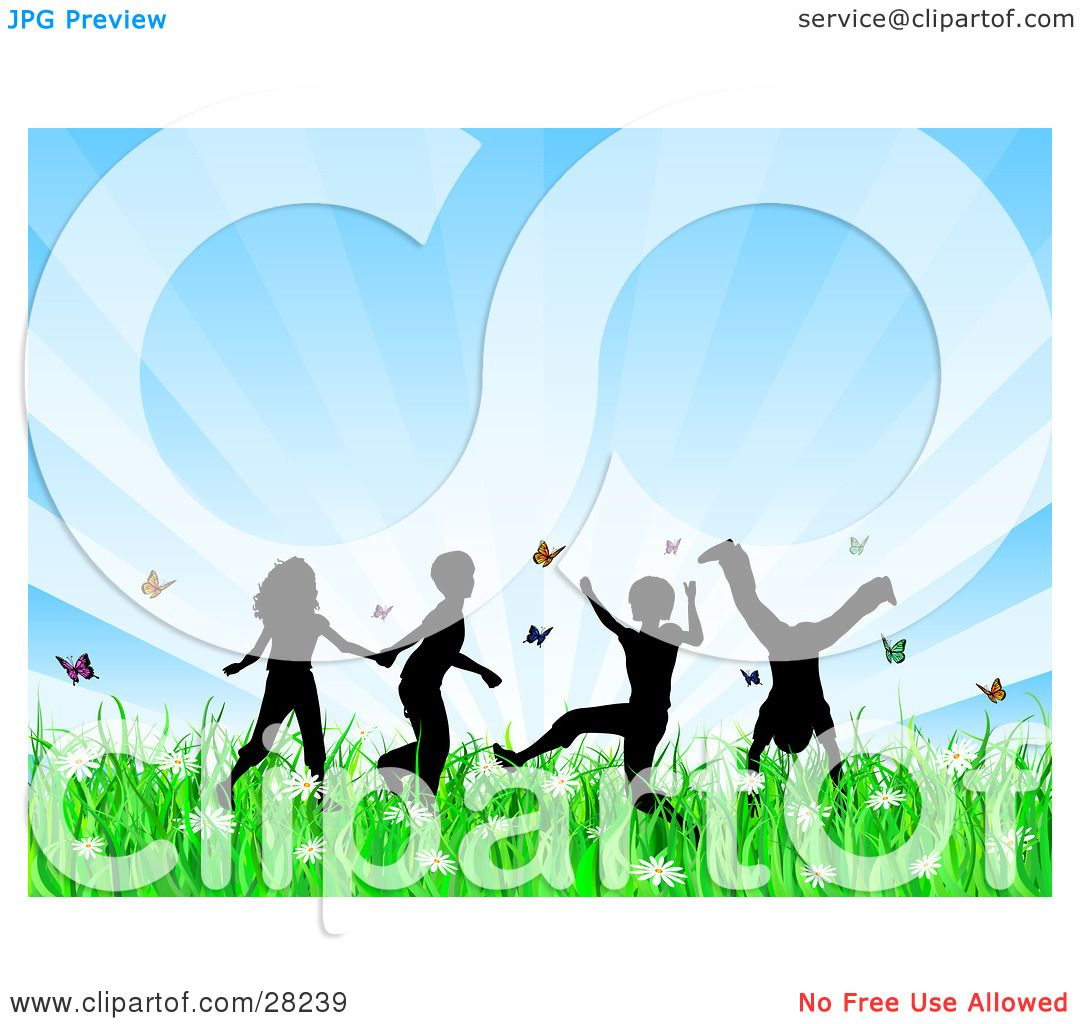 Spring flowers clipart clipart kid - Clipart Illustration Of Four Silhouetted Children Running Holding Hands And Doing Somersaults In A Field Of Butterflies And Spring Flowers Over A Bursting
