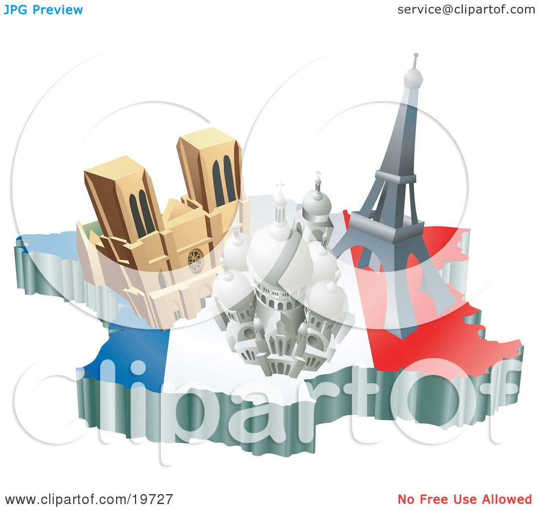 Clipart Illustration of French Tourist Attractions The Basilica – Paris France Tourist Attractions Map