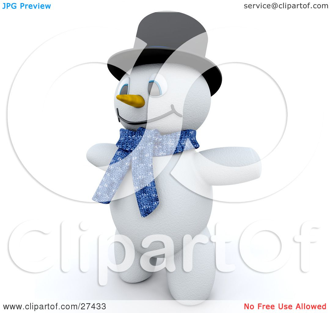 Clipart Illustration Of Frosty The Snowman In 3d, Wearing