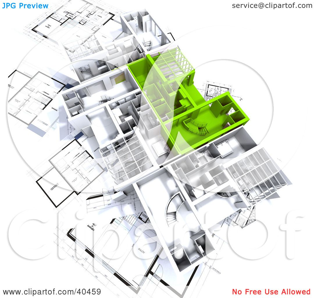 clipart illustration of green and white 3d house floor plans on clipart illustration of green and white 3d house floor plans on blueprints by frank boston