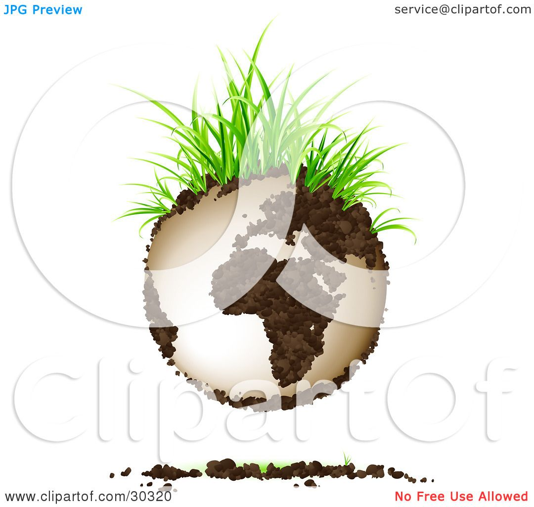 Clipart Illustration Of Green Grasses Sprouting From Soil