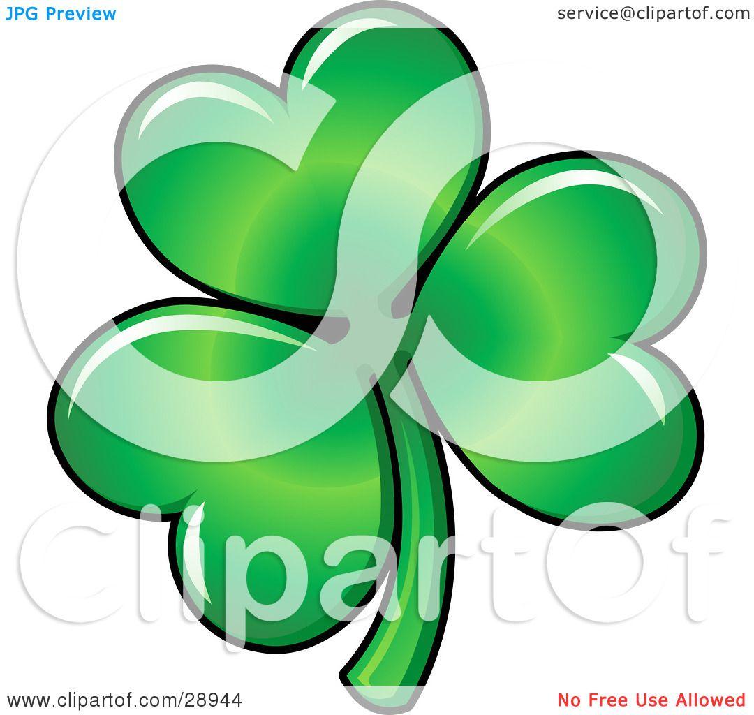 clipart illustration of green three leaved shamrock clover leaf