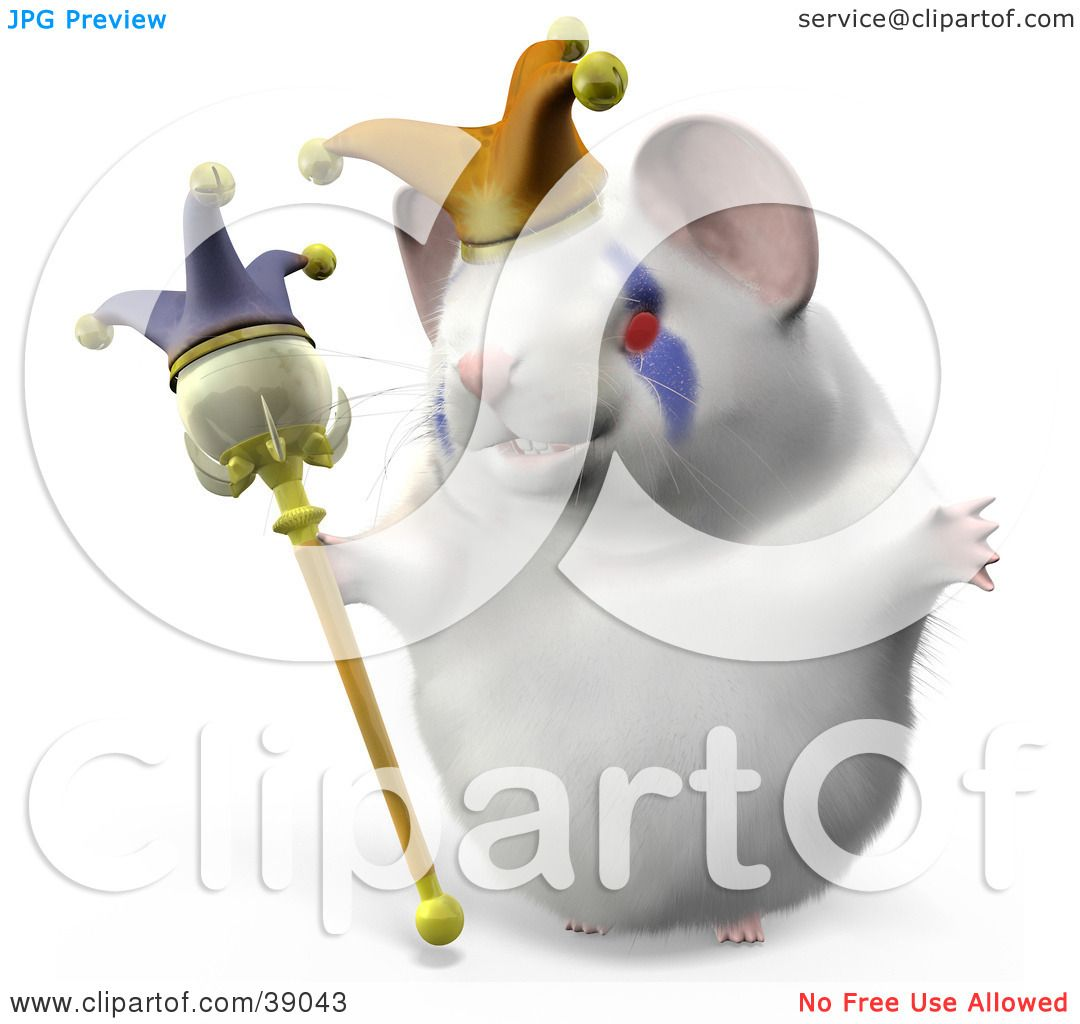 clipart illustration of hammy the jester hamster wearing a hat and