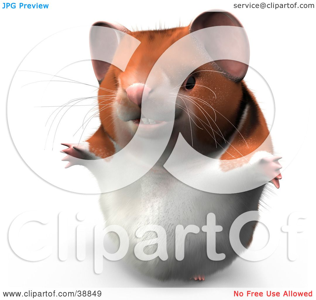 clipart illustration of hammy the productive hamster smiling and