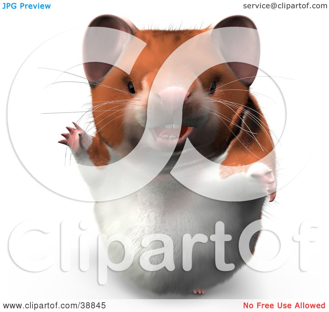 clipart illustration of hammy the productive hamster waving and