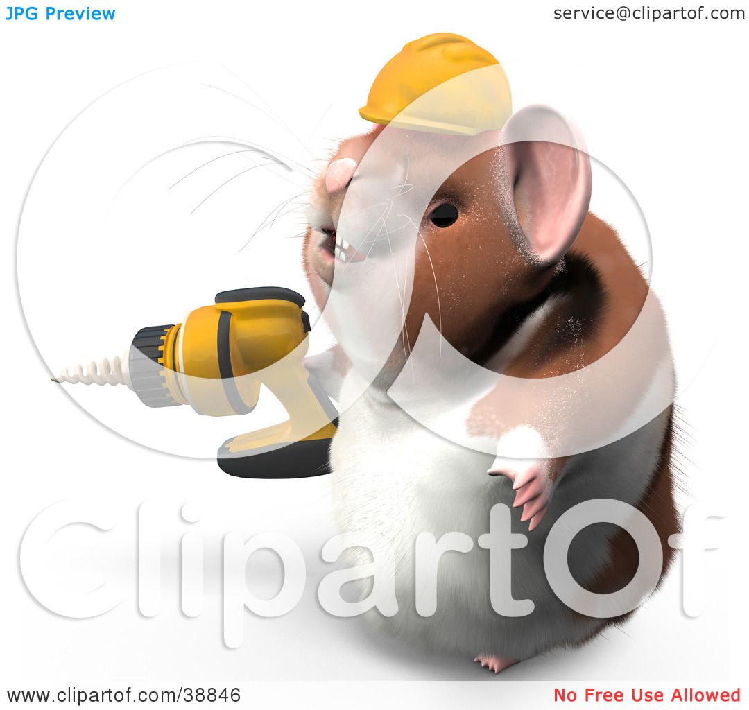 clipart illustration of hammy the productive hamster wearing a