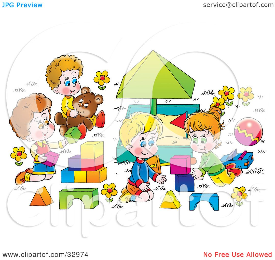 clipart illustration of happy children playing with blocks