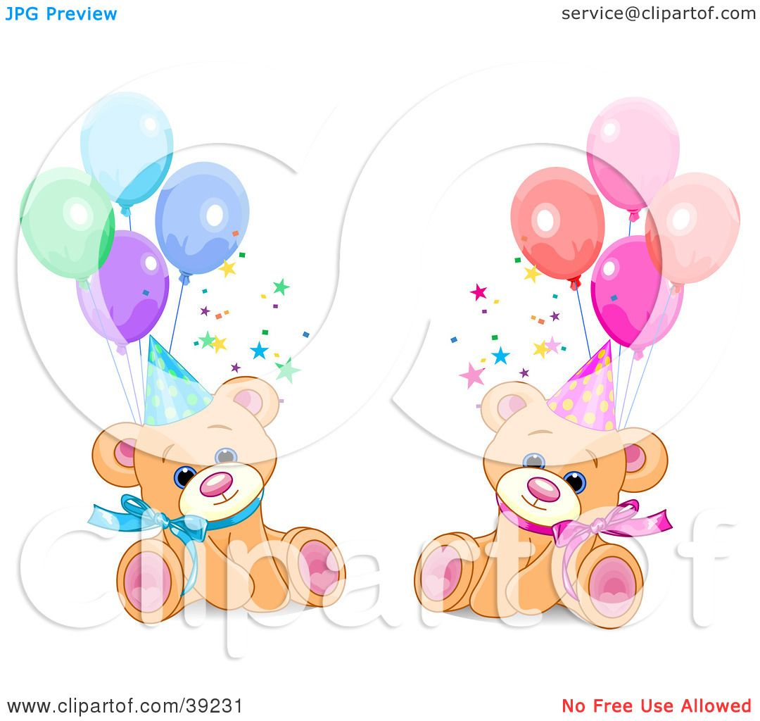 Clipart Illustration Of Male And Female Twin Birthday