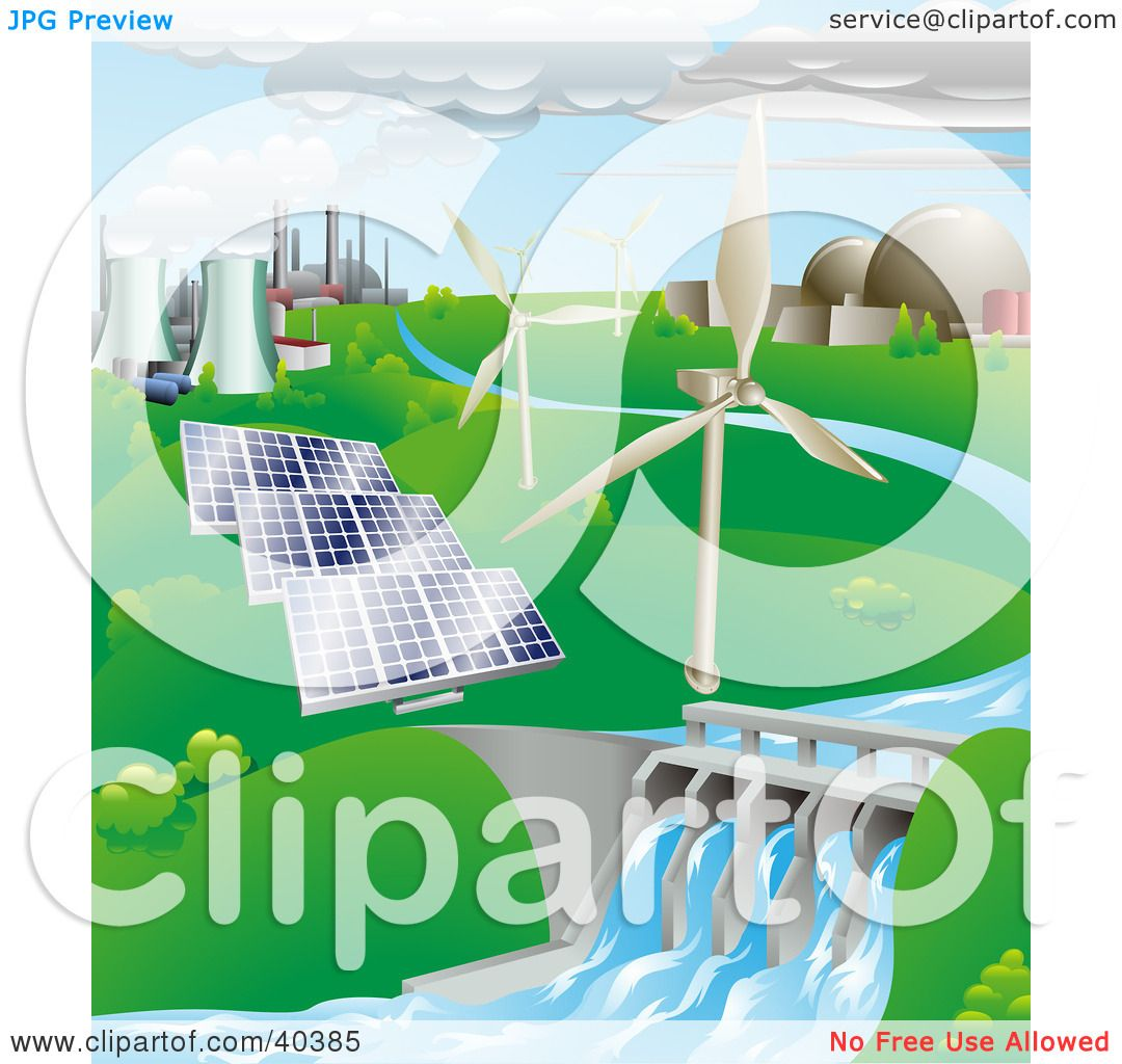 Clipart Illustration Of Nuclear Fossil Fuel Wind Power