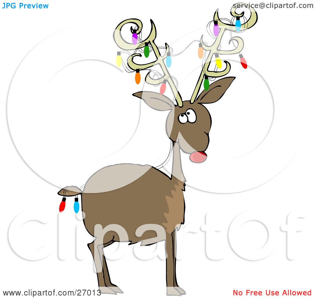 clipart illustration of rudolph the red nosed reindeer with colorful christmas lights decorating his antlers and tail by djart