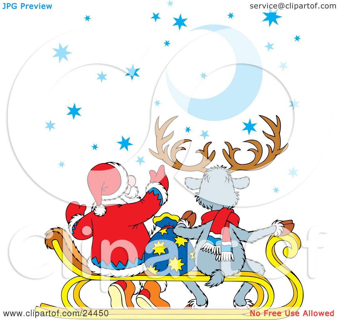 Clipart Illustration Of Santa And A Reindeer Sitting On A