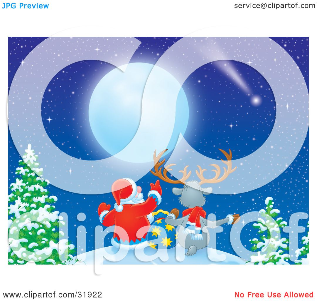 Clipart Illustration of Santa Claus And A Reindeer Seated With A Toy ...