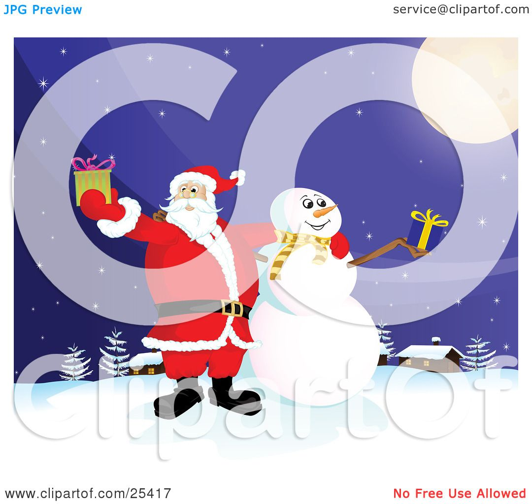 Clipart Illustration of Santa Claus And Frosty The Snowman