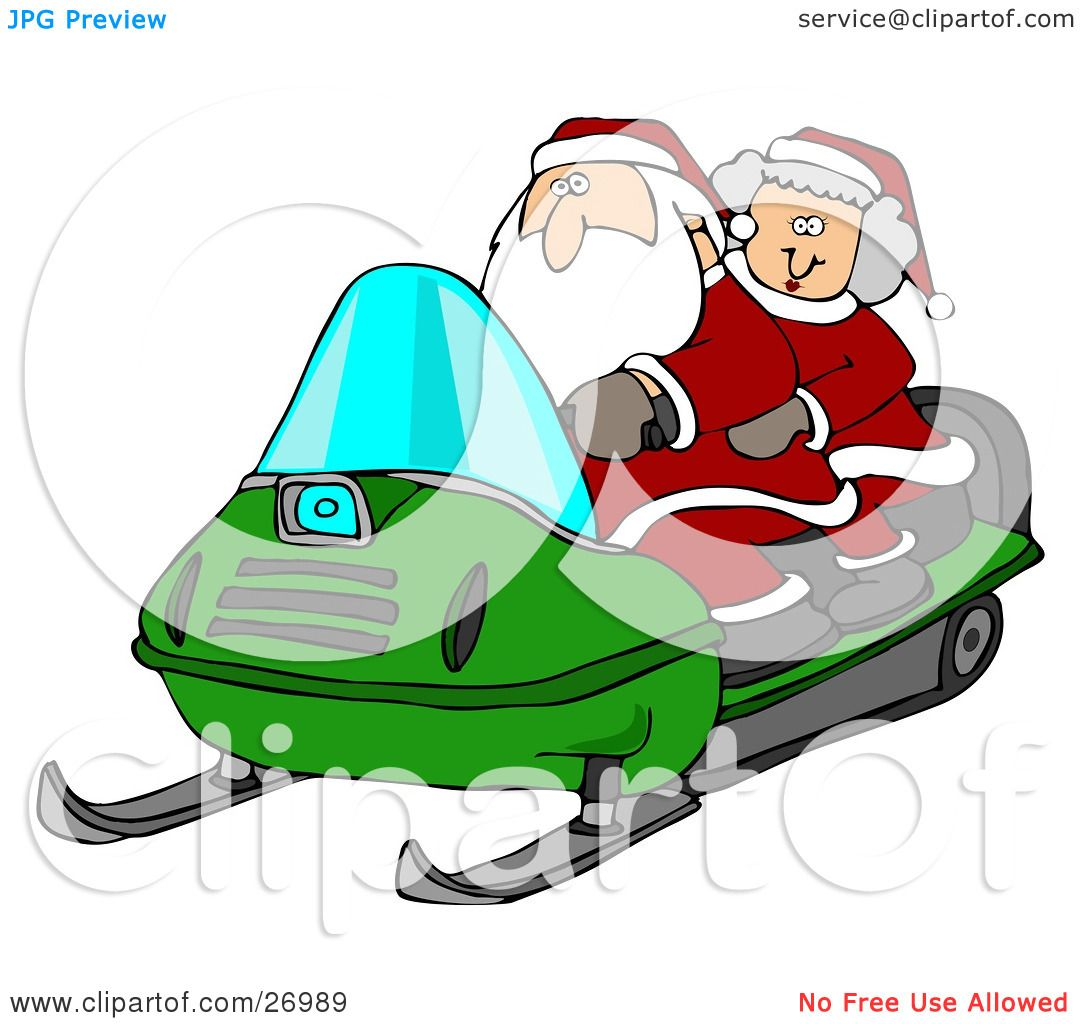 Clipart Illustration of Santa Claus And Mrs Claus Riding A Green ...