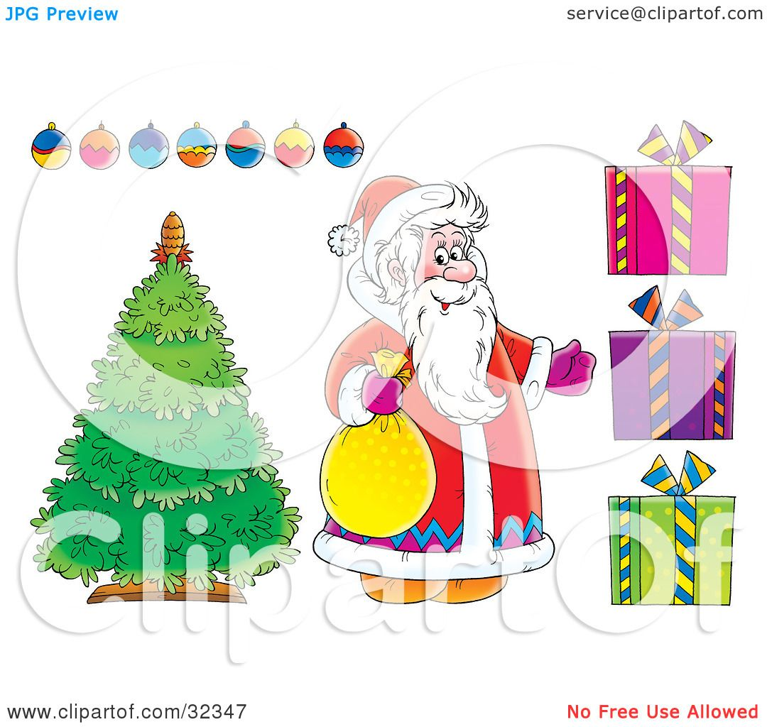 Picture Of Christmas Tree With Presents: Clipart Illustration Of Santa Claus Standing By A