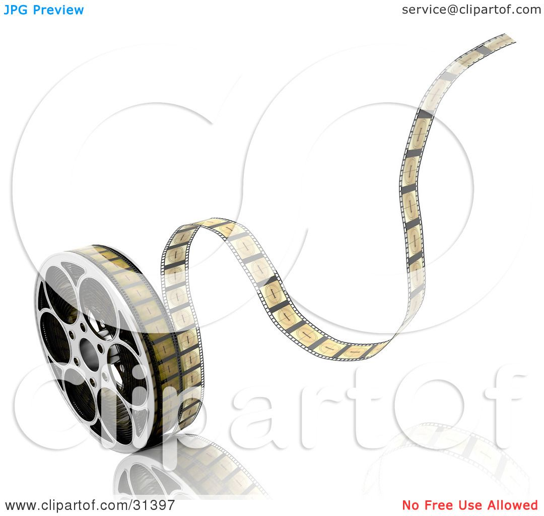 clipart illustration of tape rolling off of a film reel on a white