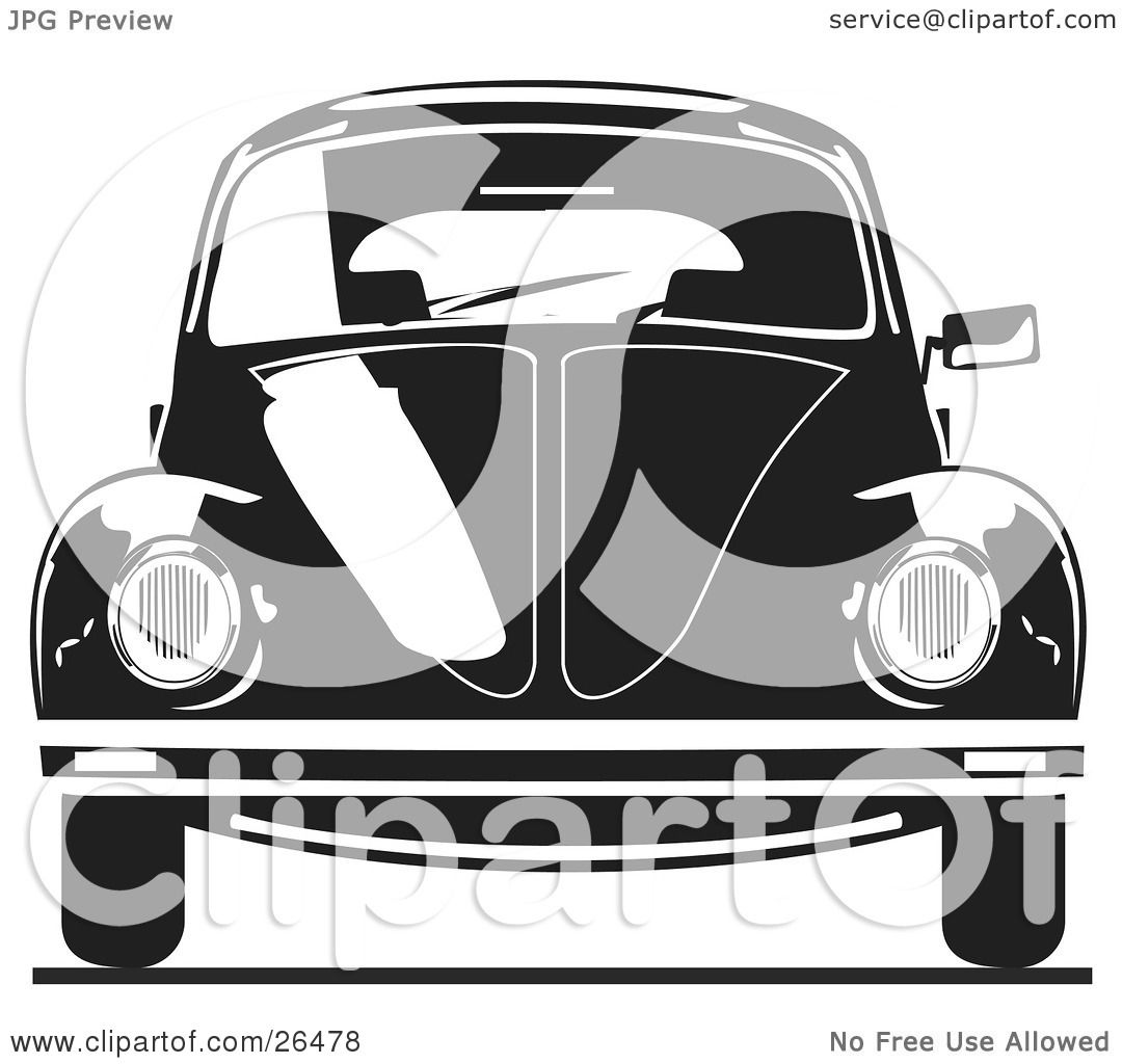 Clipart Illustration of The Front of a Volkswagen Bug Car In Black ...