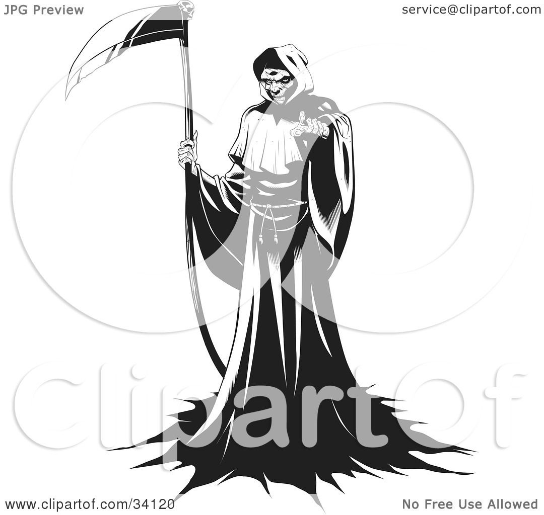 Clipart Illustration of The Grim Reaper Standing In A Robe Holding A Scythe And Beckoning For