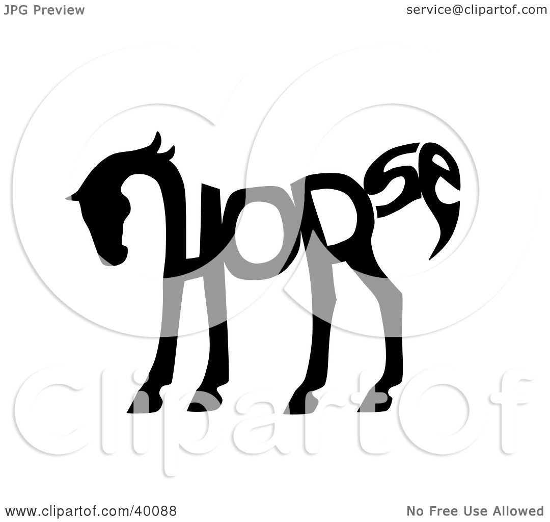 Clipart Illustration Of The Word Horse Spelled Out And