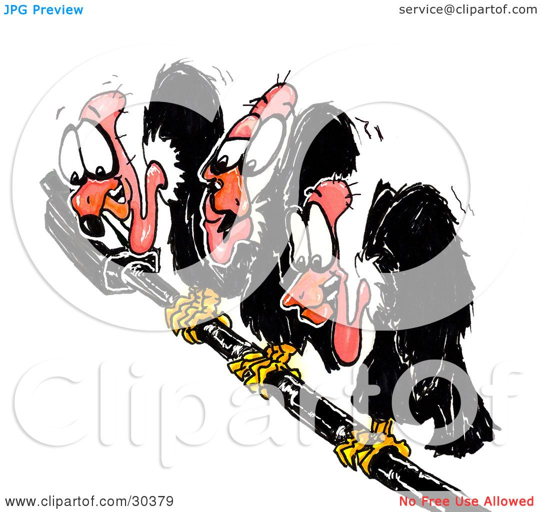 Clipart Illustration Of Three Black Anxious Buzzards
