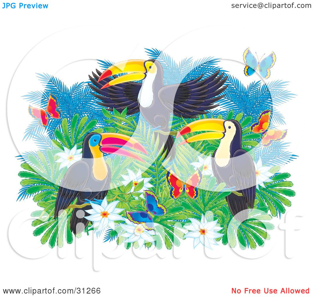 Clipart Illustration Of Three Colorful Toucans On Top Of A Tree With