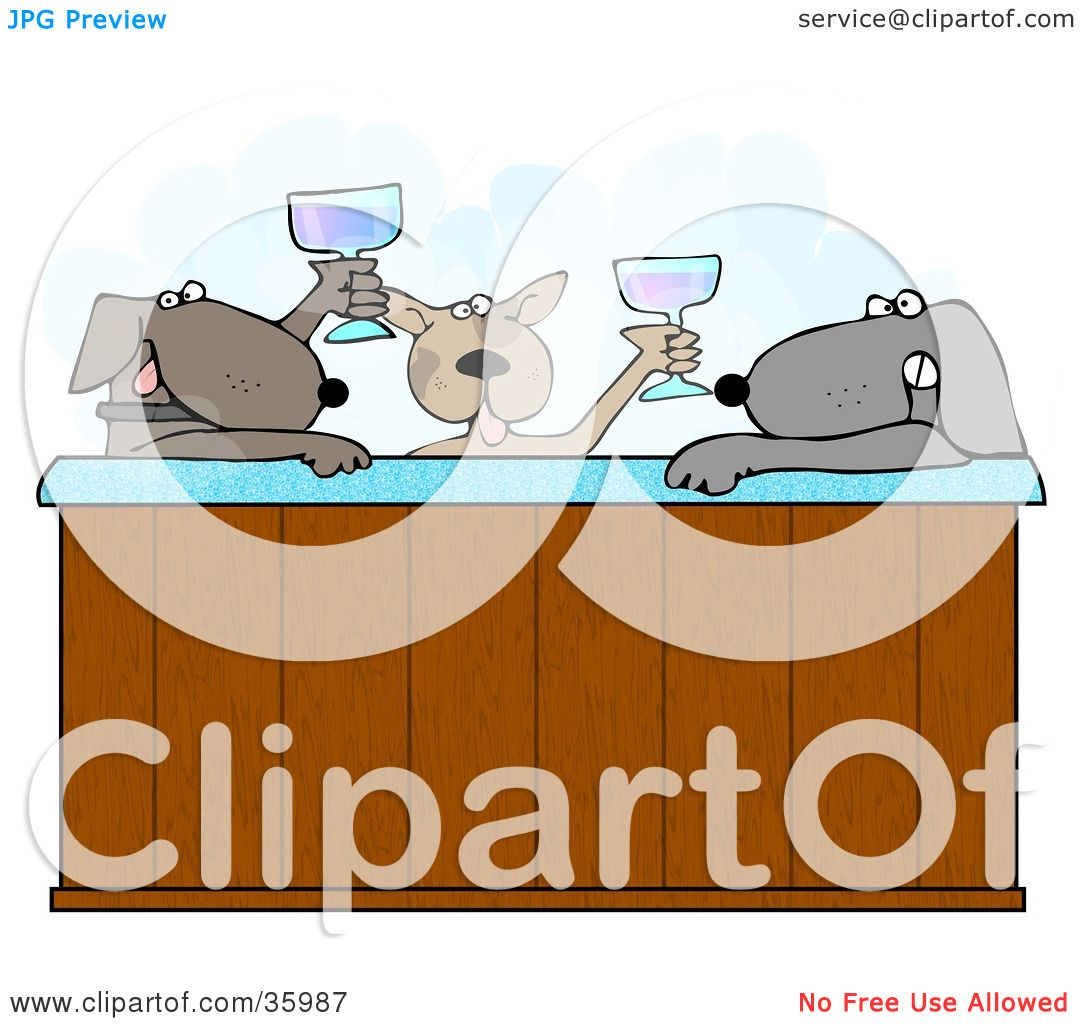 Clipart Illustration of Three Relaxed Dogs Drinking Champagne And ...