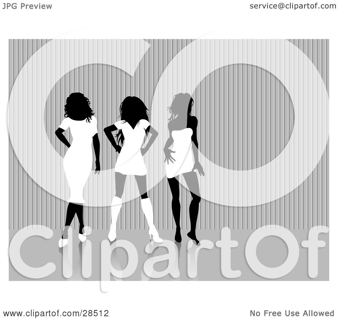 Clipart Illustration Of Three Sexy Black Silhouetted Women