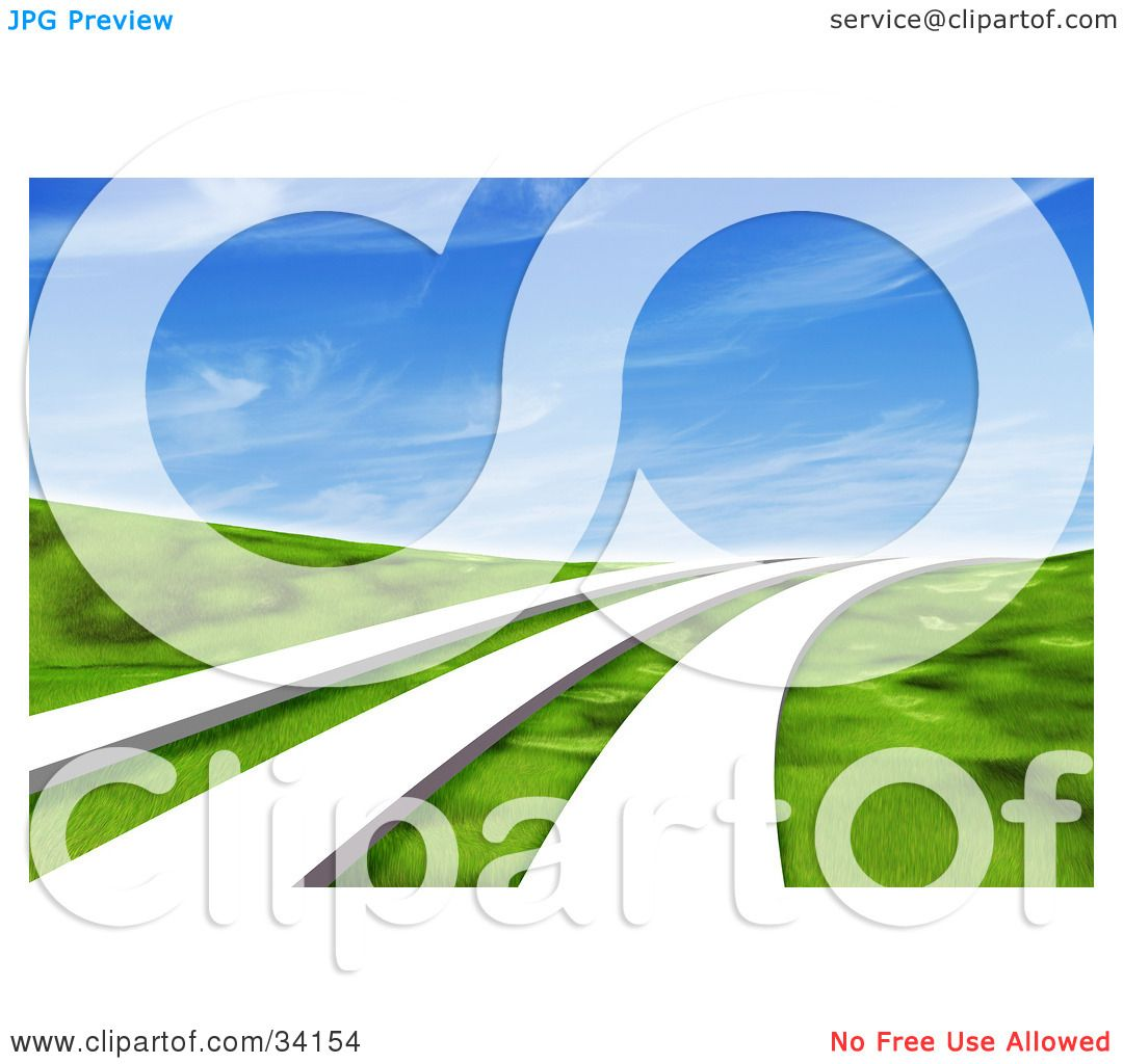 Clipart Illustration of Three White Paths Leading Across A ...