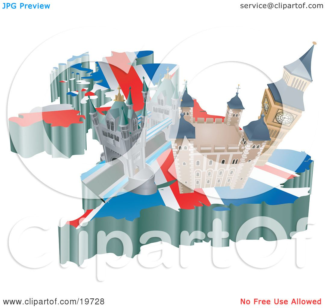 Clipart Illustration of Tourist Attractions In The United Kingdom – United Kingdom Tourist Attractions Map